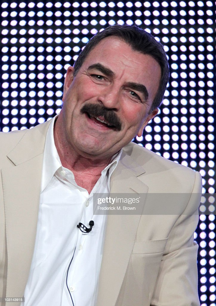 Actor <a gi-track='captionPersonalityLinkClicked' href=/galleries/search?phrase=Tom+Selleck&family=editorial&specificpeople=208627 ng-click='$event.stopPropagation()'>Tom Selleck</a> speaks at 'Blue Bloods' panel during 2010 Summer TCA Tour Day 1 at the Beverly Hilton Hotel on July 28, 2010 in Beverly Hills, California.