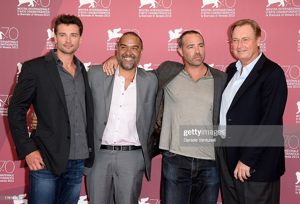 Actor <a gi-track='captionPersonalityLinkClicked' href=/galleries/search?phrase=Tom+Welling&family=editorial&specificpeople=631434 ng-click='$event.stopPropagation()'>Tom Welling</a>, Producer <a gi-track='captionPersonalityLinkClicked' href=/galleries/search?phrase=Matt+Jackson+-+Producer&family=editorial&specificpeople=15195809 ng-click='$event.stopPropagation()'>Matt Jackson</a>, Director Peter Landesman and Producer Guy East attend 'Parkland' Photocall during the 70th Venice International Film Festival at Palazzo del Casino on September 1, 2013 in Venice, Italy.