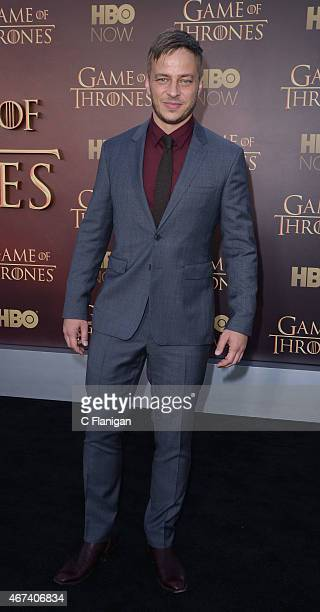 Actor Tom Wlaschiha attends HBO's 'Game of Thrones' Season 5 Premiere at the San Francisco War Memorial Opera House on March 23 2015 in San Francisco...