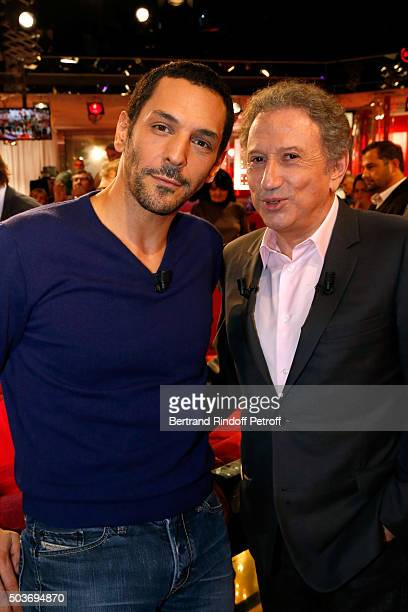 Actor Tomer Sisley and presenter of the show Michel Drucker attend the 'Vivement Dimanche' French TV Show at Pavillon Gabriel on January 6 2016 in...