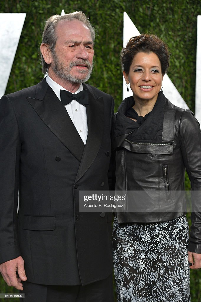 Actor Tommy Lee Jones (R) and Dawn Laurel-Jones arrives at the 2013 Vanity Fair Oscar Party hosted by Graydon Carter at Sunset Tower on February 24, 2013 in West Hollywood, California.