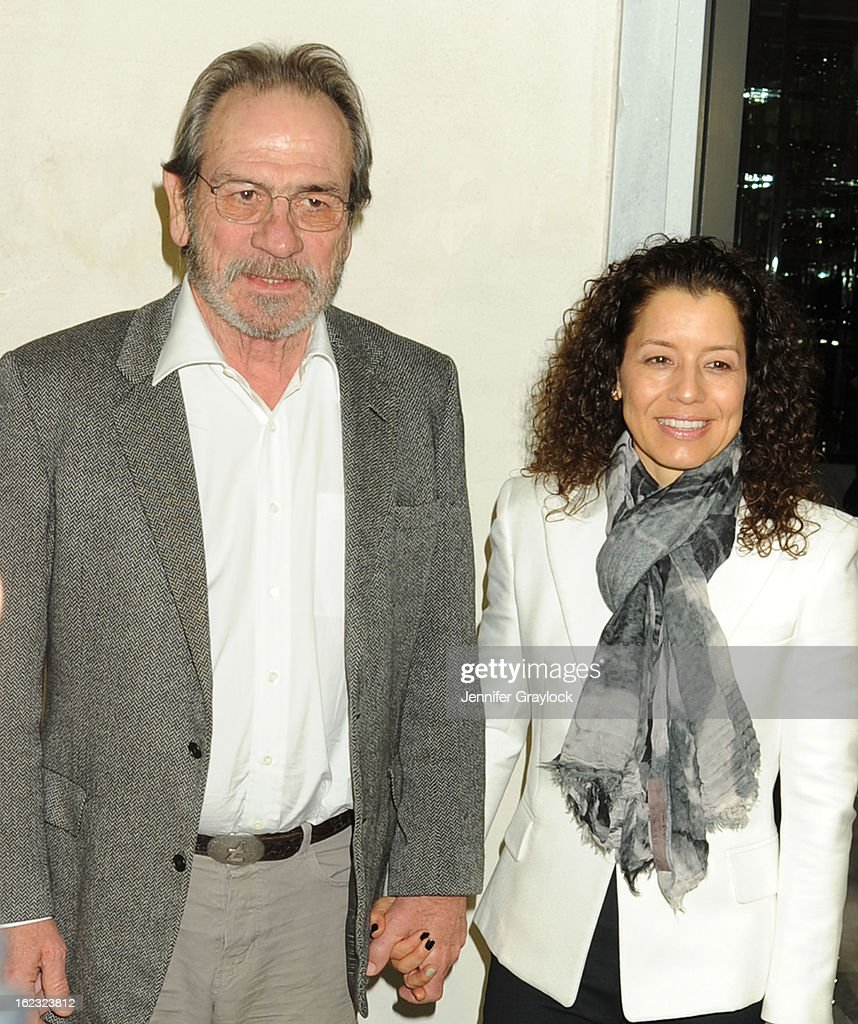 Actor Tommy Lee Jones and Dawn Laurel-Jones attends the Tom Ford cocktail party in support of Project Angel Food Media held at TOM FORD boutique on February 21, 2013 in Beverly Hills, California.