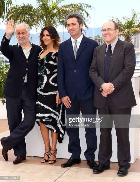 Actor Toni Servillo actress Sabrina Ferilli director Paolo Sorrentino and actor Carlo Verdone attend the 'La Grande Bellezza' Photocall during The...