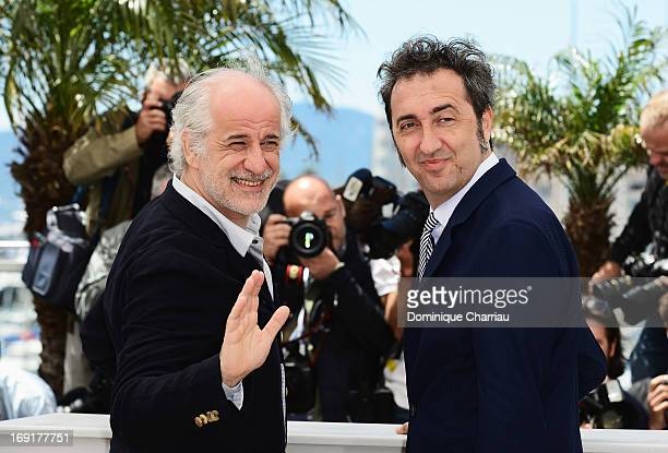 Actor Toni Servillo and director Paolo Sorrentino attend the photocall for 'La Grande Bellezza' during the 66th Annual Cannes Film Festival at Palais...