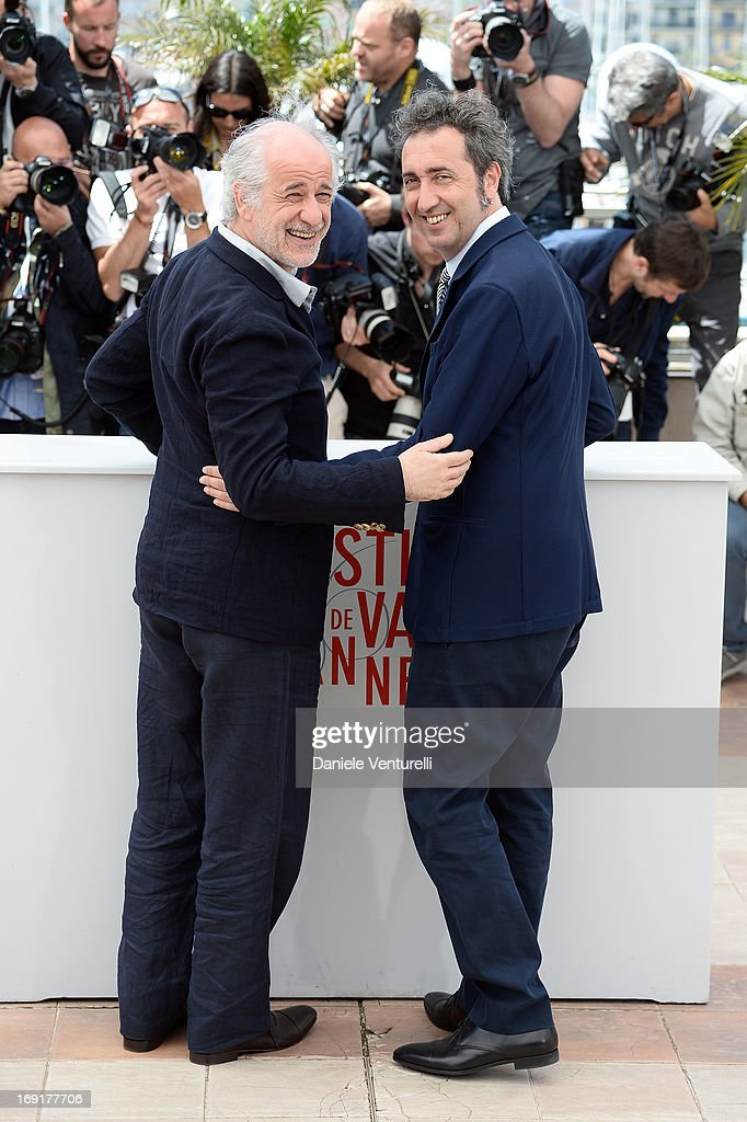 Actor Toni Servillo and director Paolo Sorrentino attends the photocall for 'La Grande Bellezza' during the 66th Annual Cannes Film Festival at...