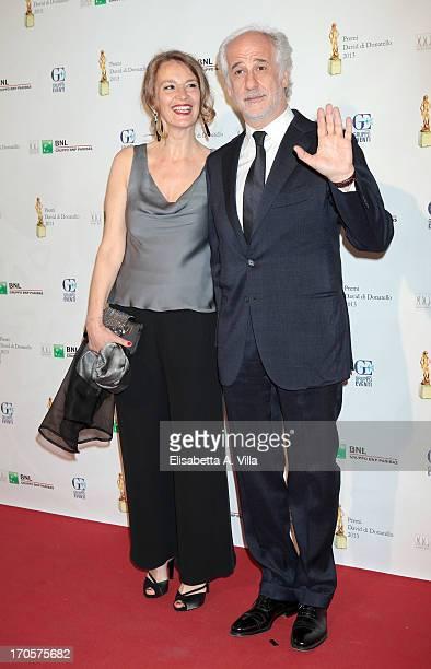 Actor Toni Servillo and wife attend 2013 Premi David di Donatello Ceremony Awards at Dear RAI Studios on June 14 2013 in Rome Italy