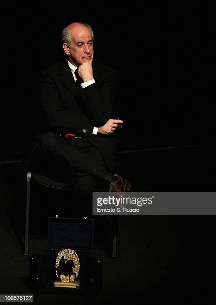 Actor Toni Servillo on stage during the Winners and Jury Press Conference after he received the Marc'Aurelio Jury Award for Best Actor for 'Una Vita...