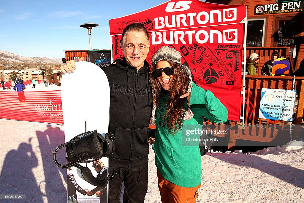 Actor Tony Danza and Burton Pro Rider Gabi Viteri attend Burton Learn To Ride - Day 2 on January 20, 2013 in Park City, Utah.