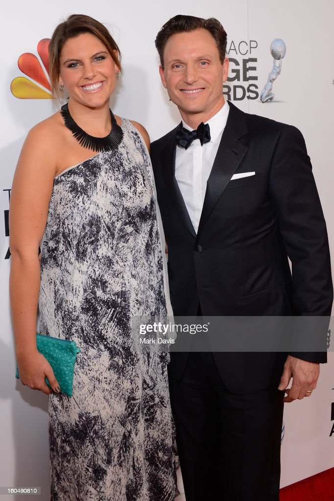 Actor Tony Goldwyn (R) and daughter Anna Musky-Goldwyn attend the 44th NAACP Image Awards at The Shrine Auditorium on February 1, 2013 in Los Angeles, California.