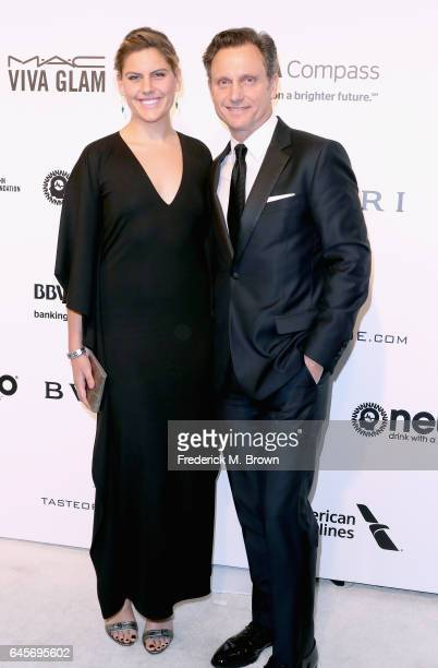 Actor Tony Goldwyn and Jane Musky attends the 25th Annual Elton John AIDS Foundation's Academy Awards Viewing Party at The City of West Hollywood...