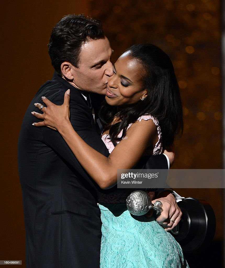 Actor Tony Goldwyn (L) presents actress Kerry Washington with Outstanding Actress in a Drama Series award for 'Scandal' onstage during the 44th NAACP Image Awards at The Shrine Auditorium on February 1, 2013 in Los Angeles, California.