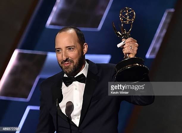 Actor Tony Hale accepts the Outstanding Supporting Actor in a Comedy Series award for 'Veep' onstage during the 67th Annual Primetime Emmy Awards at...