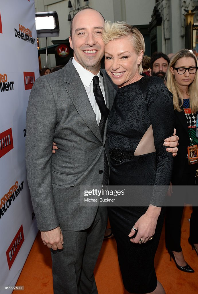 Actor Tony Hale (L) and actress Portia de Rossi arrives at the Los Angeles Premiere of Season 4 of Netflix's 'Arrested Development' at the TCL Chinese Theatre on April 29, 2013 in Hollywood, California.