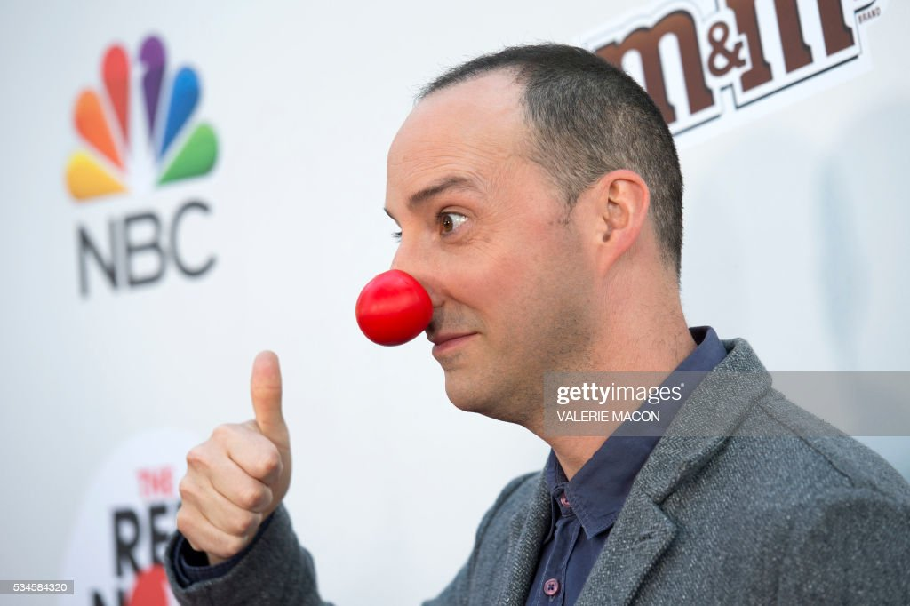 Actor Tony Hale attends the 2nd Red Nose Day Special on NBC, in Universal Studios, California, on May 26, 2016. / AFP / VALERIE