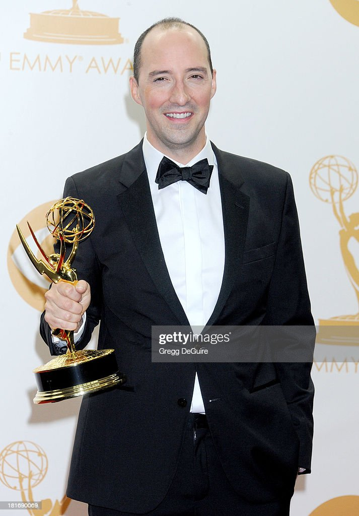 Actor Tony Hale poses in the press room at the 65th Annual Primetime Emmy Awards at Nokia Theatre L.A. Live on September 22, 2013 in Los Angeles, California.