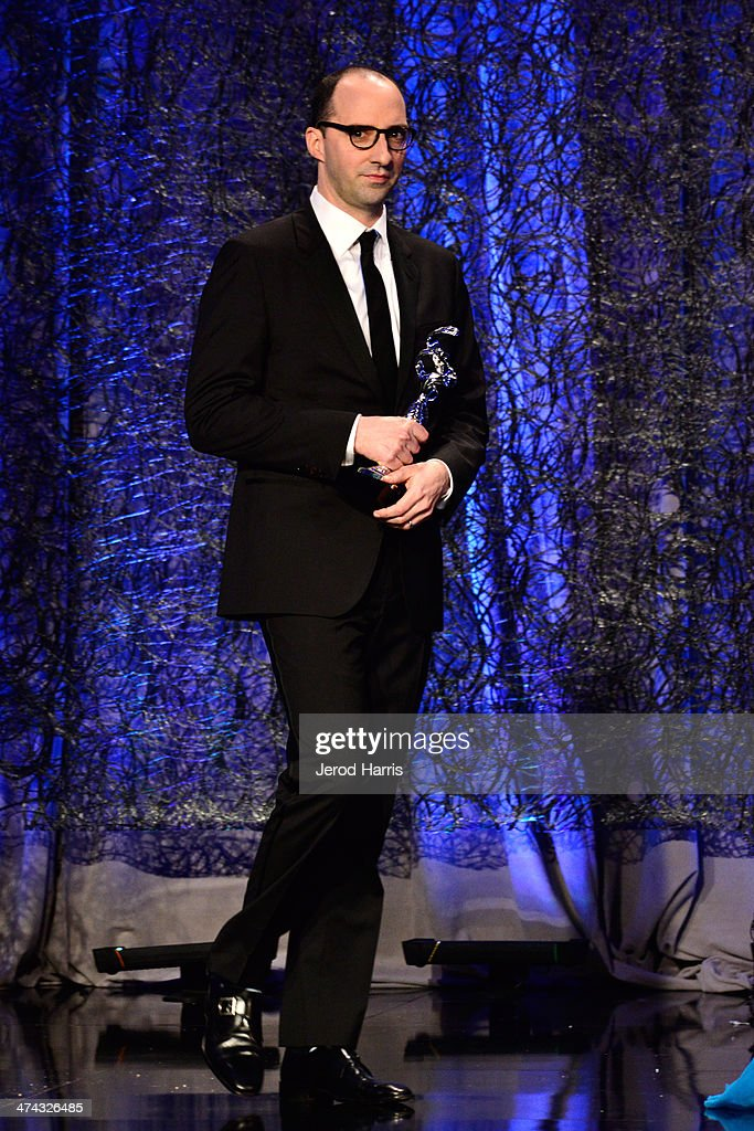 Actor Tony Hale speaks onstage during the 16th Costume Designers Guild Awards with presenting sponsor Lacoste at The Beverly Hilton Hotel on February 22, 2014 in Beverly Hills, California.