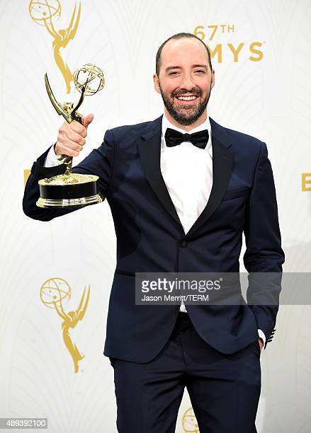 Actor Tony Hale winner of Outstanding Supporting Actor in a Comedy Series for 'Veep' poses in the press room at the 67th Annual Primetime Emmy Awards...