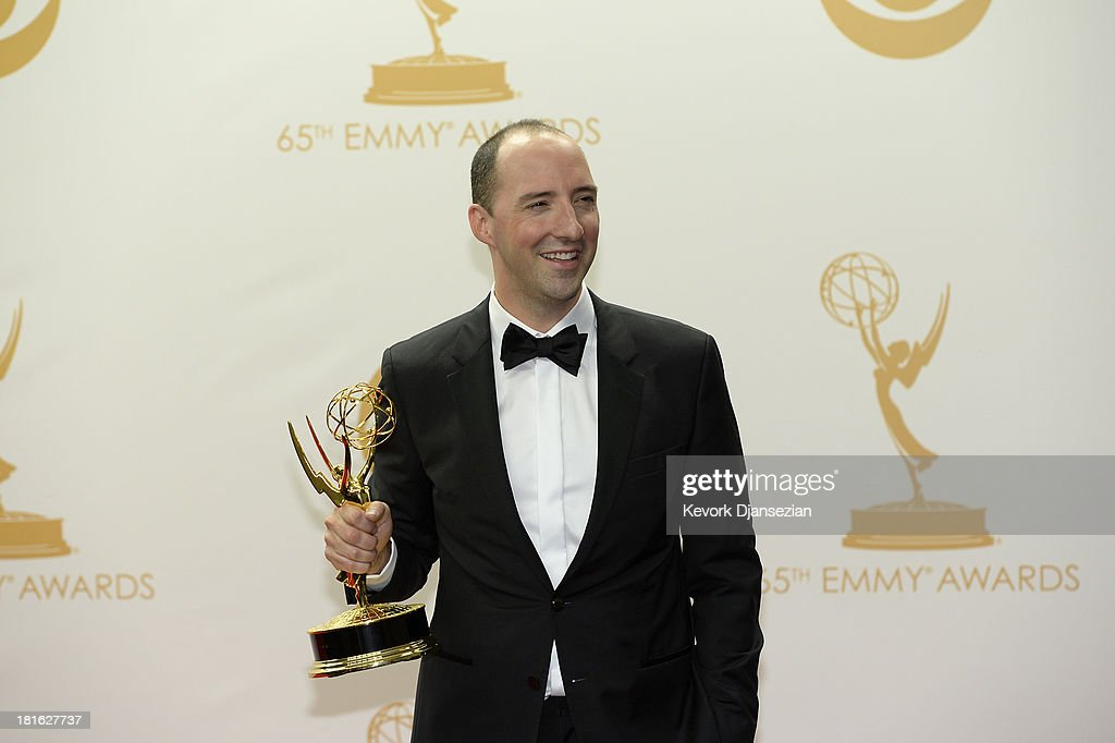Actor Tony Hale, winner of the Best Supporting Actor in a Comedy Series Award for 'Veep,' poses in the press room during the 65th Annual Primetime Emmy Awards held at Nokia Theatre L.A. Live on September 22, 2013 in Los Angeles, California.