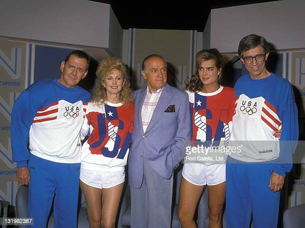 Actor Tony Randall actress Morgan Fairchild entertainer Bob Hope actress Brooke Shields and weatherman Fritz Coleman attend the Taping of the NBC...