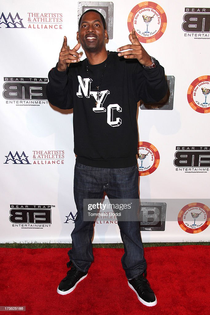 Actor <a gi-track='captionPersonalityLinkClicked' href=/galleries/search?phrase=Tony+Rock&family=editorial&specificpeople=221570 ng-click='$event.stopPropagation()'>Tony Rock</a> attends the 8th annual BTE All-Star Celebrity Kickoff Party held at The Playboy Mansion on July 15, 2013 in Beverly Hills, California.