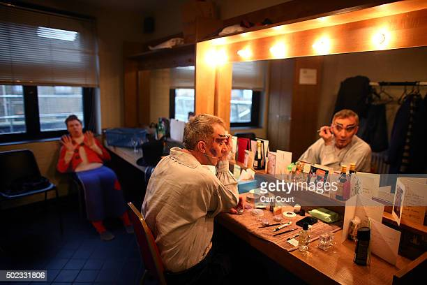 Actor Tony Timberlake applies make up before performing as Nasty Bug in Jack and the Beanstalk at Hackney Empire on December 22 2015 in London...