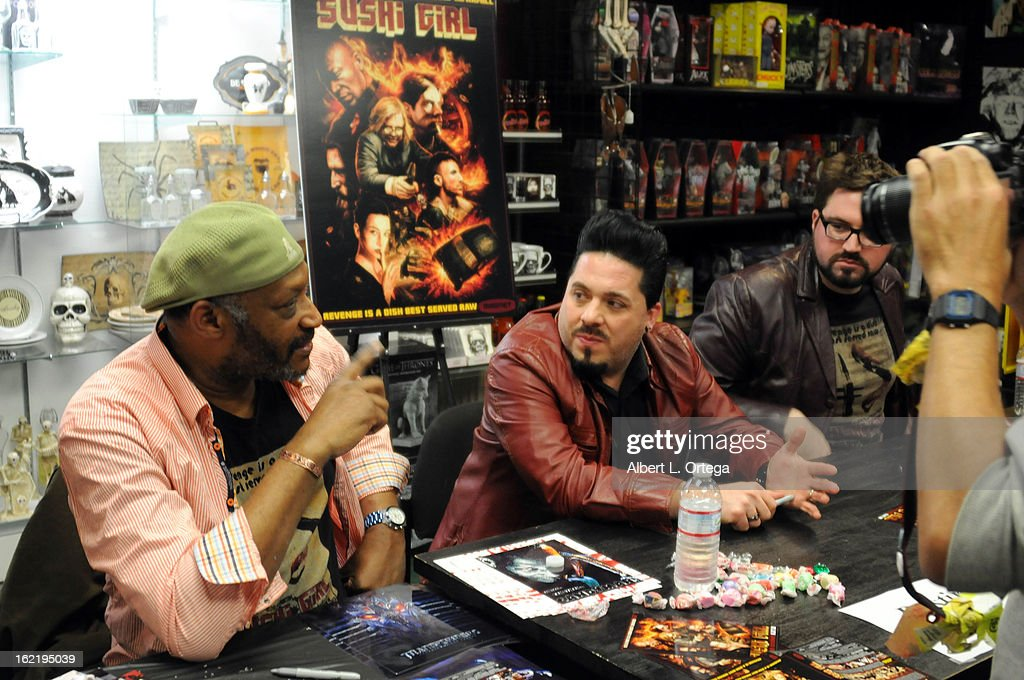 Actor Tony Todd, producer Destin Pfaff and director Kern Saxton participate in the Blu-ray And DVD Release Party For Magnolia Home Entertainment's 'Sushi Girl' held at Dark Delicacies Bookstore on February 19, 2013 in Burbank, California.