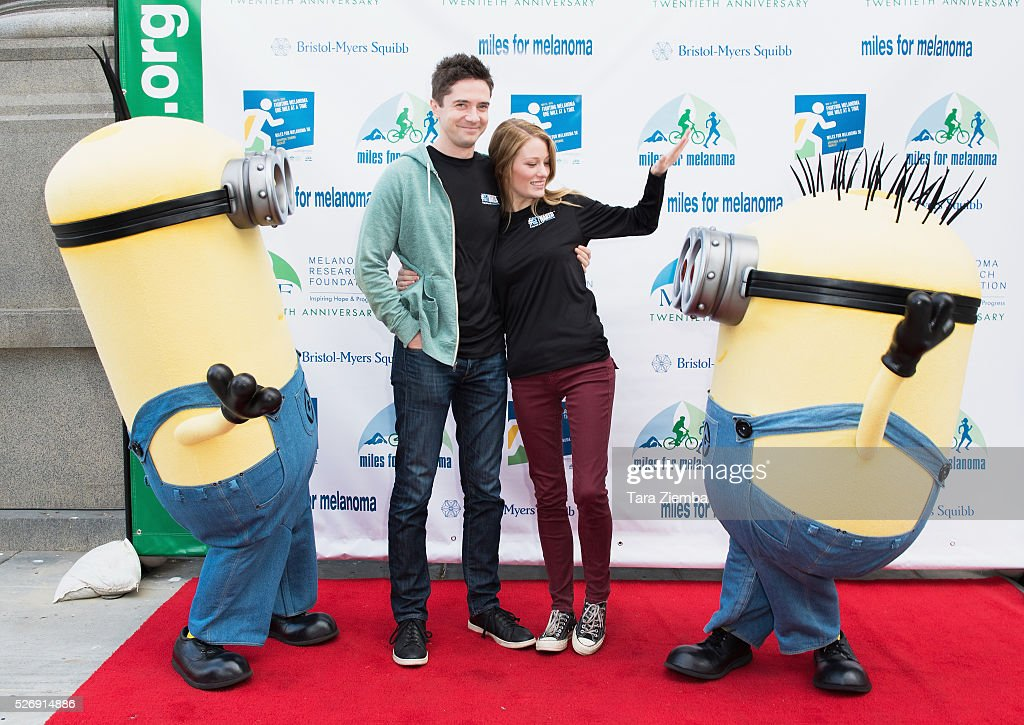 Actor Topher Grace and Actress Ashley Hinshaw attend the Melanoma Research Foundation's Miles for Melanoma 5k Run/Walk at Universal Studios Backlot on May 1, 2016 in Universal City, California.