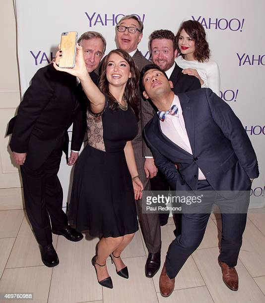 Actor Trace Beaulieu executive producer Paul Feig actors Neil Casey Conor Leslie Eugene Cordero and Milana Vayntrub taking a selfie at Paul Feig's...
