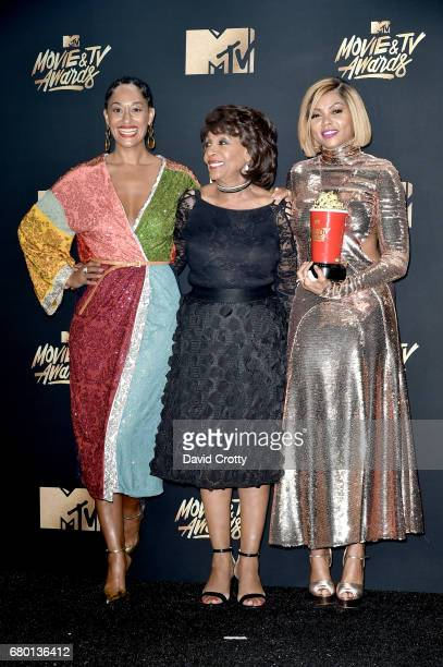 Actor Tracee Ellis Ross US Representative Maxine Waters and actor Taraji P Henson who accepted the Best Fight Against the System award on behalf of...