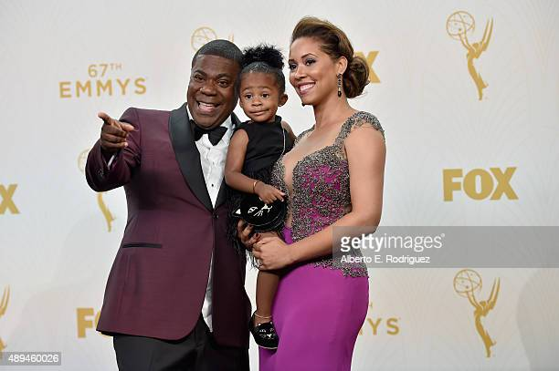 Actor Tracy Morgan Maven Sonae Morgan and Megan Morgan poses in the press room at the 67th Annual Primetime Emmy Awards at Microsoft Theater on...