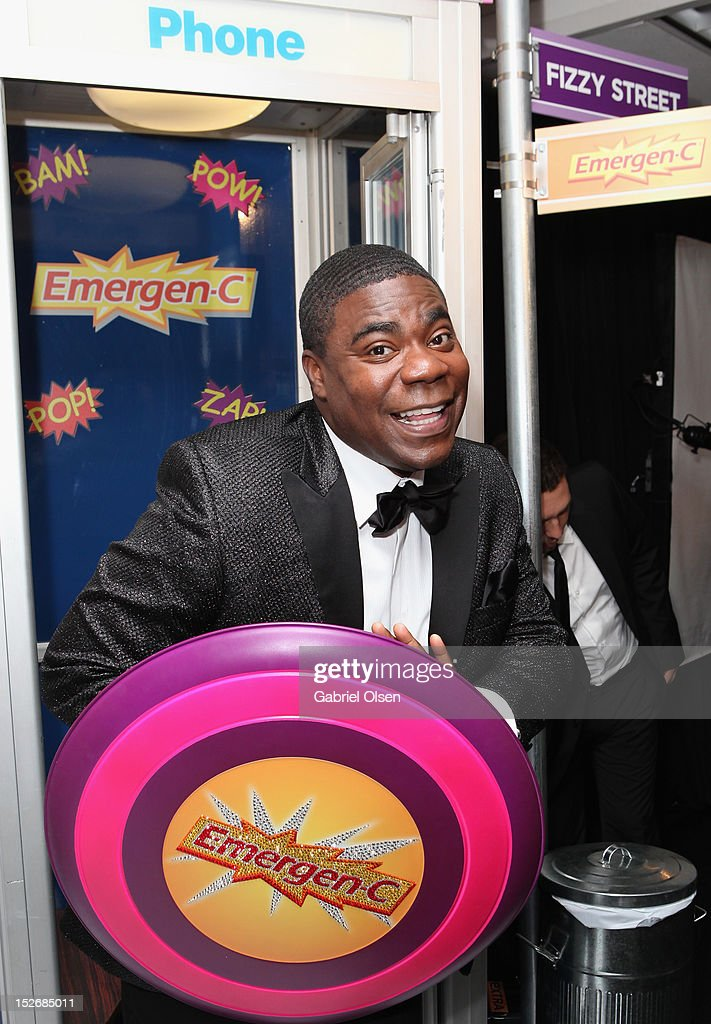 Actor <a gi-track='captionPersonalityLinkClicked' href=/galleries/search?phrase=Tracy+Morgan&family=editorial&specificpeople=182428 ng-click='$event.stopPropagation()'>Tracy Morgan</a> poses with Emergen-C in the Presenters Gift Lounge Backstage in celebration of the 64th Primetime Emmy Awards produced by On 3 Productions at Nokia Theatre L.A. Live on September 23, 2012 in Los Angeles, California.