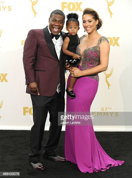 Actor Tracy Morgan wife Megan Morgan and daughter Maven Sonae Morgan pose in the press room at the 67th annual Primetime Emmy Awards at Microsoft...