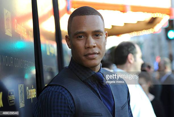 Actor Trai Byers arrives at Fox's 'Empire' ATAS Academy Event at The Theatre at The Ace Hotel on March 12 2015 in Los Angeles California