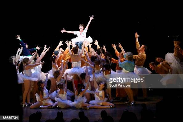 Actor Trent Kowalik and cast on stage during the curtain call for 'Billy Elliot The Musical' on Broadway at the Imperial Theatre on November 13 2008...