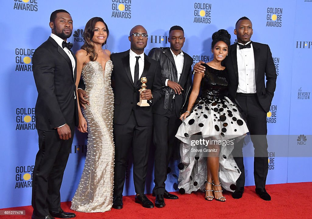 Actor Trevante Rhodes, actress Naomie Harris, filmmaker Barry Jenkins, actor Ashton Sanders, actress/singer Janelle Monae and actor Mahershala Ali pose in the press room during the 74th Annual Golden Globe Awards at The Beverly Hilton Hotel on January 8, 2017 in Beverly Hills, California.
