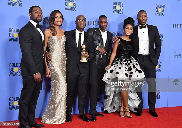 Actor Trevante Rhodes actress Naomie Harris filmmaker Barry Jenkins actor Ashton Sanders actress/singer Janelle Monae and actor Mahershala Ali pose...