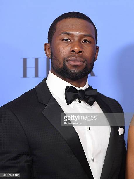 Actor Trevante Rhodes of 'Moonlight' winner of Best Motion Picture Drama poses in the press room during the 74th Annual Golden Globe Awards at The...