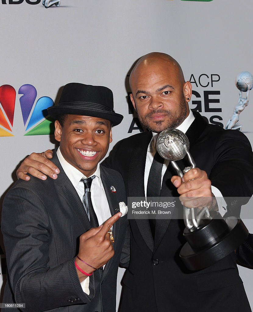 Actor Tristan Wilds (L) and director Anthony Hemingway of winner for Outstanding Motion Picture and Outstanding Independent Motion Picture 'Red Tails' pose in the press room during the 44th NAACP Image Awards at The Shrine Auditorium on February 1, 2013 in Los Angeles, California.