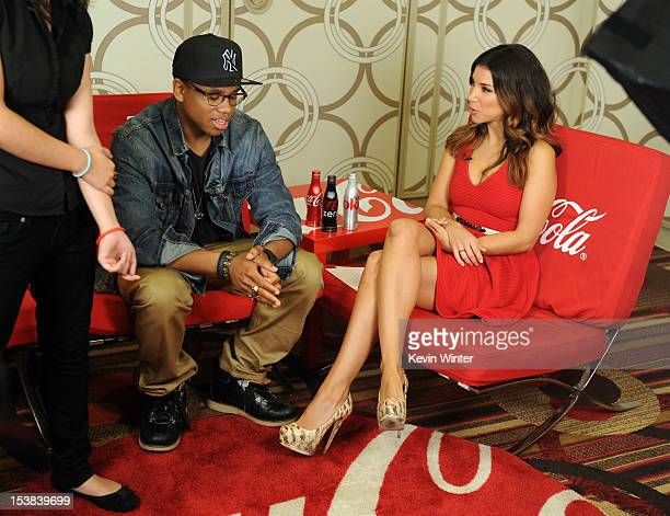 Actor Tristan Wilds and TV personality Adrianna Costa speak during the 40th Anniversary American Music Awards nominations press conference at the JW...