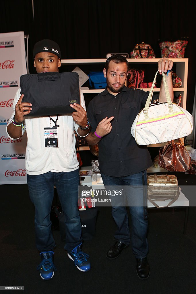 Actor Tristan Wilds (L) and youtube host Shay Carl attend LPB Group presents day 2 of the official AMA gift lounge at Nokia Theatre L.A. Live on November 17, 2012 in Los Angeles, California.