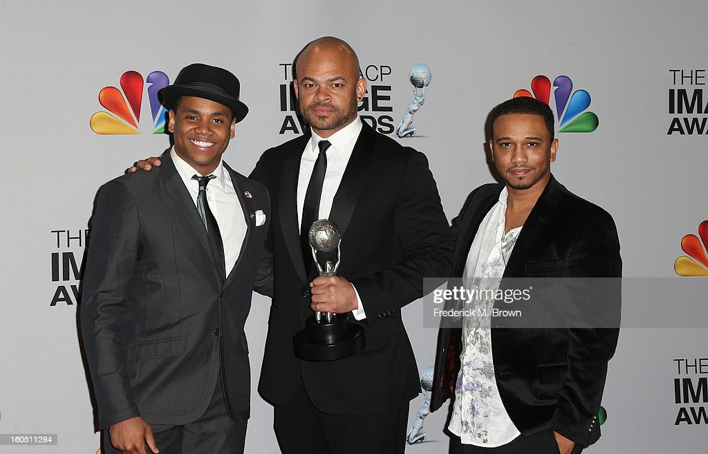 Actor Tristan Wilds, director Anthony Hemingway, and writer Aaron McGruder of winner for Outstanding Motion Picture and Outstanding Independent Motion Picture 'Red Tails' pose in the press room during the 44th NAACP Image Awards at The Shrine Auditorium on February 1, 2013 in Los Angeles, California.