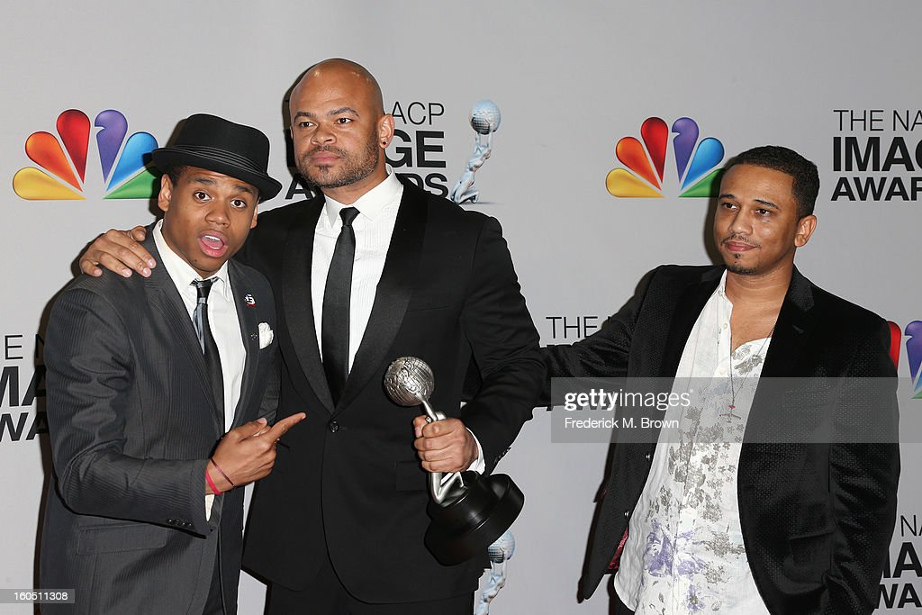 Actor Tristan Wilds director Anthony Hemingway and writer Aaron McGruder of winner for Outstanding Motion Picture and Outstanding Independent Motion...