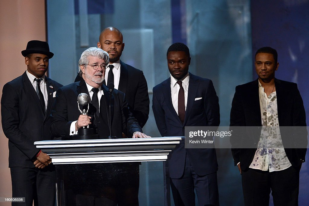 Actor Tristan Wilds, director George Lucas, and actors Anthony Hemingway, David Oyelowo and Kevin Phillips onstage during the 44th NAACP Image Awards at The Shrine Auditorium on February 1, 2013 in Los Angeles, California.