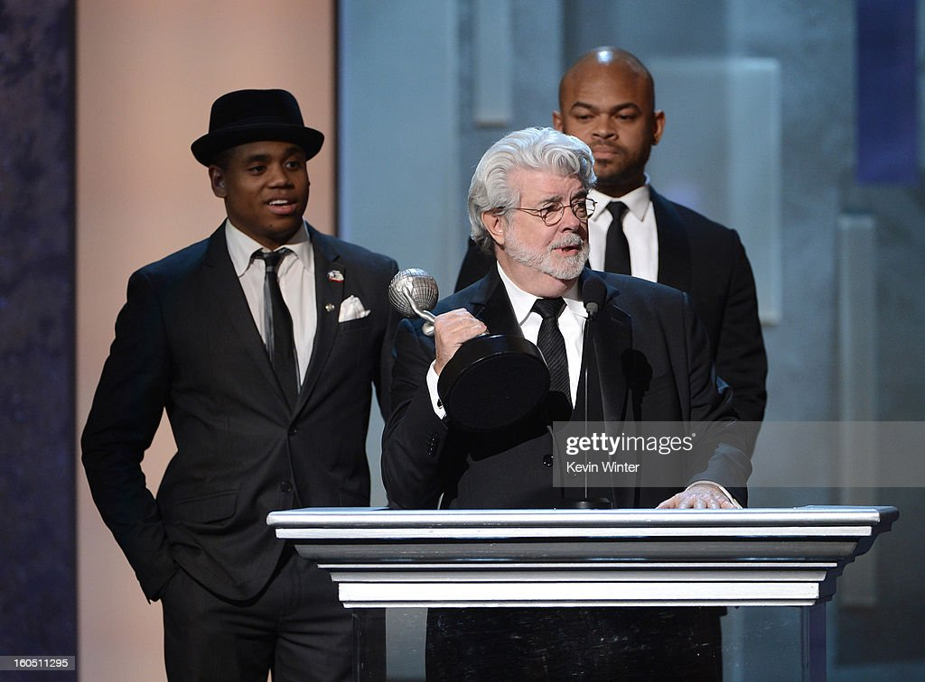 Actor Tristan Wilds, director George Lucas and director Anthony Hemingway onstage during the 44th NAACP Image Awards at The Shrine Auditorium on February 1, 2013 in Los Angeles, California.