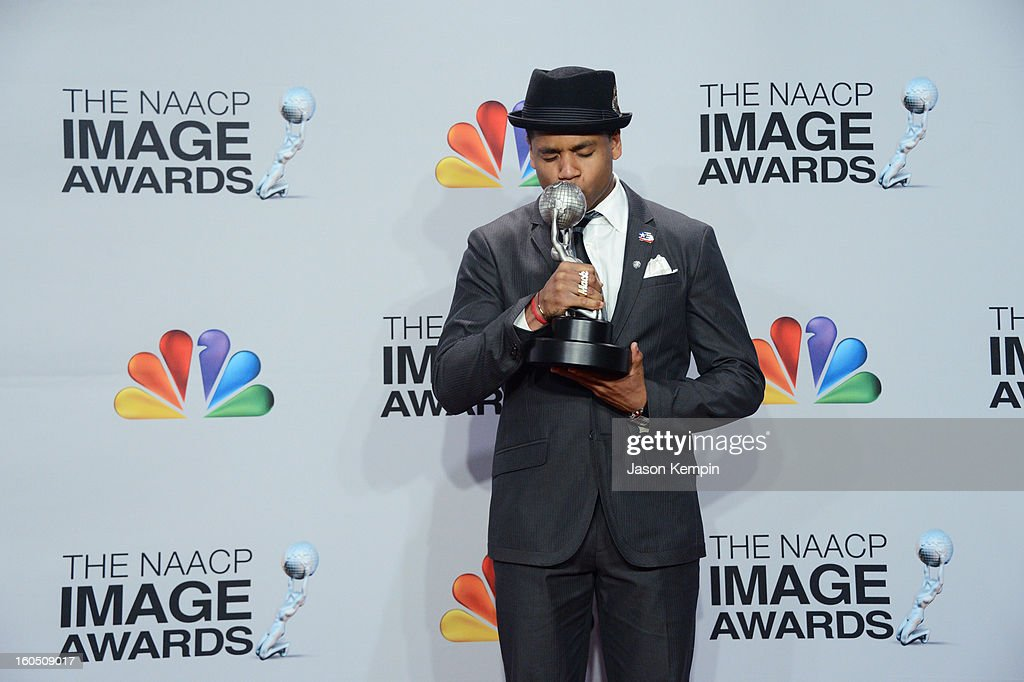 Actor Tristan Wilds poses in the press room during the 44th NAACP Image Awards at The Shrine Auditorium on February 1, 2013 in Los Angeles, California.