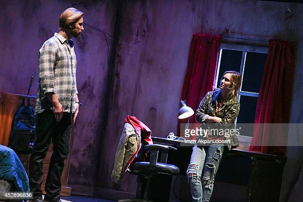 Actor Troy Baker and actress Ashley Johnson perform a surprise alternative ending to The Last of US at The Broad Stage on July 28 2014 in Santa...