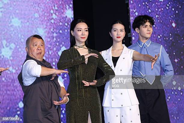 Actor Tsang Chi Wai from Hong Kong Actress Chen Shu and singer Zeng Shunxi attend the booting ceremony of Chinese TV series Fighter Of The Destiny at...