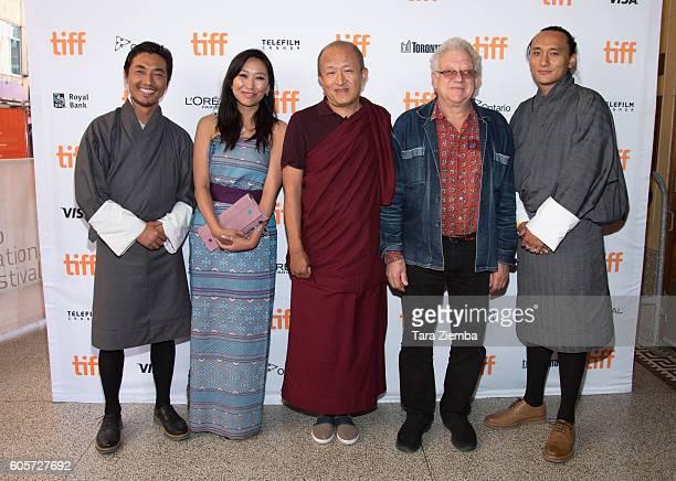 Actor Tshering Dorj actor Sadon Lhamo director Khyentse Norbu executive producer Jeremy Thomas and producer Pawo Choyning Dorji attend the 'Hema Hema...