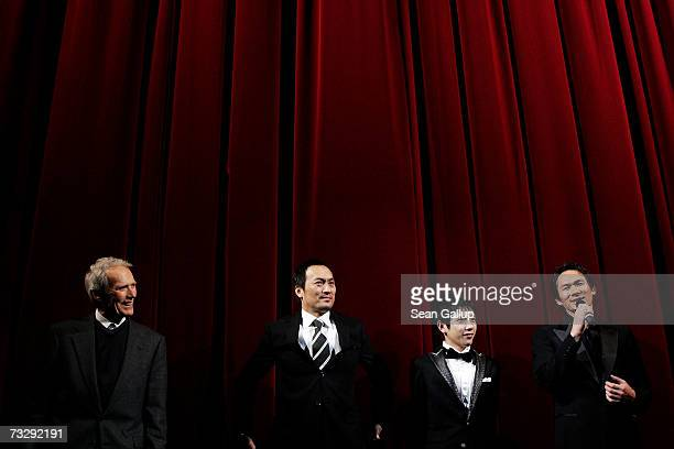 Actor Tsuyoshi Ihara speaks as film director Clint Eastwood actor Ken Watanabe and actor Kazunari Ninomiya look on after Eastwood received the...