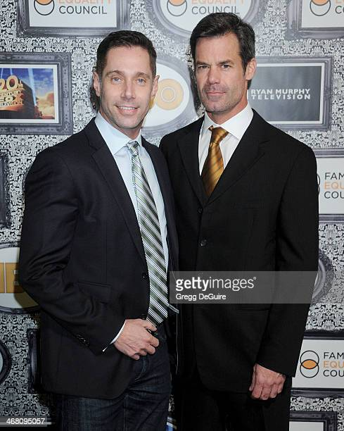 Actor Tuc Watkins and Sergio Schwark arrive at the Family Equality Council's Annual Los Angeles Awards Dinner at The Globe Theatre on February 8 2014...
